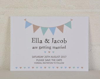 Save the Date, Bunting Save the Date, Kraft Card Save the Date, White Card Save the Dates, Vintage Wedding Stationery