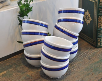 12 Cute vintage bowls with blue stripe - hotel/restaurant wares - Made in Canada