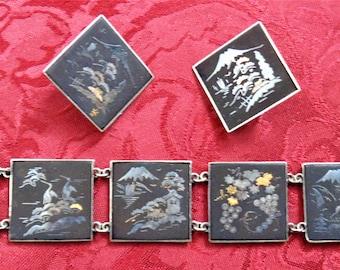Japanese Damascene Inlaid 6 Panel Bracelet and Earring Set
