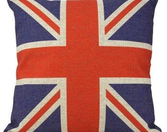 British Flag Burlap - Pillow Cover
