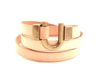 Leather Bracelet Wrap Tan