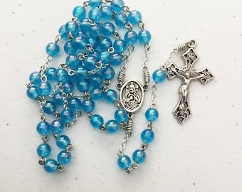 6mm translucent blue bead rosary with sacred Heart / Madonna center