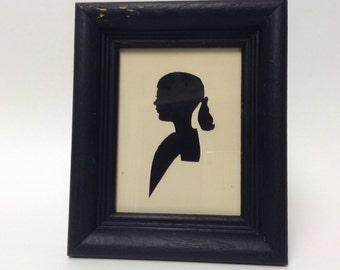 Silhouette, Vintage Collectible Rock City Souvenir, Mid Century Child Girl Wood Framed Portrait, Hand Cut Paper, Collectible Home Decor