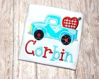 Boys embroidered valentine truck, heart truck, Valentine shirt, love appliqued shirt. Valentine pickup truck.