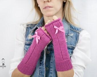 Fingerless  Bow Mittens - Knit Wool Mittens Fingerless - Long Fingerless Mittens - Gift Idea for Women - Women Gift Idea.