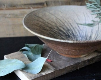 Wood Fired Stoneware Serving Bowl with Underglaze Drawing