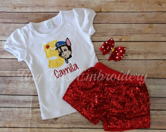 Paw Patrol Birthday Outfit ~ Includes Top, Sequin Shorts and Hair Bow ~ Customize in any colors!