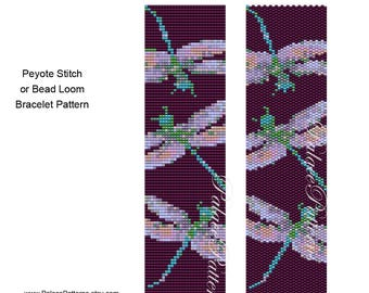 Purple Dragonfly Peyote Stitch Bracelet Pattern - Bead Loom Weaving Pattern