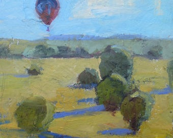 Original Oil landscape Painting Hot Air Balloons Colorado signed Tracy Haines Oil and Cold Wax.