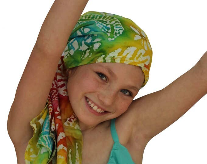 Featured listing image: Ava Joy Children's Pre-Tied Head Scarf, Girl's Cancer Headwear, Chemo Head Cover, Alopecia Hat, Head Wrap Cancer Gift Hair Loss Leaf Tie Dye