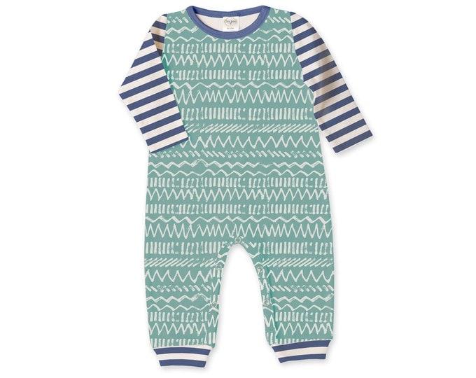 Newborn Boy Coming Home Outfit, Newborn Boy Outfit, Baby Boy Romper, Baby Boy Outfit, Blue Stripe, Green Chevron, Baby Boy Outfit, TesaBabe