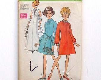 Vintage 60's Simplicity Misses Dress with Sash or Stole Sewing Pattern #8540 - Size 14 Miss Petite (bust  36)