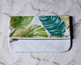 Tropical clutch. Green, teal & white linen and cotton leaf foldover clutch