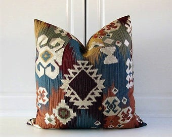 Pillow Cover-Sedona-Southwest-Teal,Purple, Gold, Silver-18x18,20x20,22x22