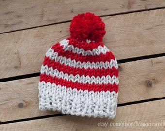 Christmas Stripe Newborn Hat, Pom Pom Newborn Hat, Candy Cane Baby Hat, Newborn Alpaca Knit Hat, Knot Top Newborn Hat, Baby First Christmas