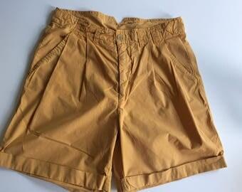 1980s Cotton SHORTS High Waist Vintage Summer Short Light Brown Beige Size Medium Large
