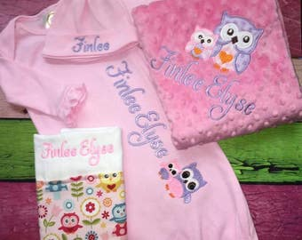 Baby Layette, Going Home Set, Baby Gown, Hat, Minky Blanket, Embroidered, Monogrammed, Burp Cloth or Bib