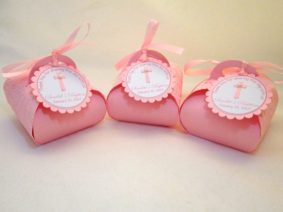Personalized favor boxes for baptism : Baptism gift boxes personalized pink first communion