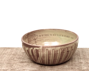 Gandhi Inspiration handmade ceramic bowl. Be the change you wish to see in the world. Poppy flower bowl.  IN STOCK