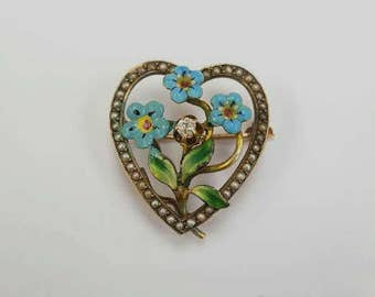 Lovely Antique Victorian 10k gold diamond Seed Pearl Heart Pin