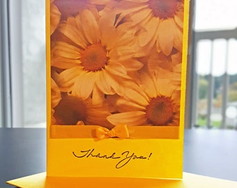Generous Yellow Thank You Greeting Card with Daisies and a Bow - Limited Quantity