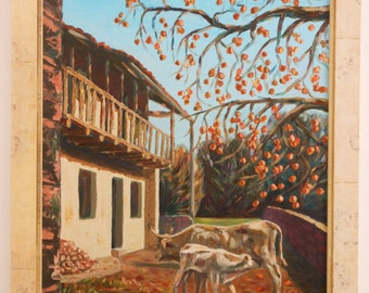 Oil painting depicting a cow with her calf. Oil on mdf 50 x 80 cm oil painting