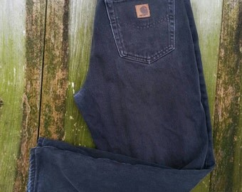 """Vintage Carhartt black denim work jeans W32""""x L29"""" / dungarees / broken in just right gentle fade and frayed cuffs"""