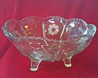 Antique Etched Cut Glass Footed Bowl