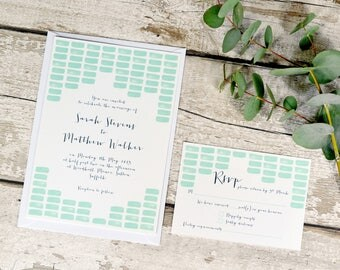 Mint Watercolour Mosaic Pattern Wedding Invitation Set | Invite + RSVP | Sample set