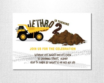 Construction Party ~ Construction Birthday Invitation ~ Construction Birthday ~ Construction Invitation ~ Truck Birthday Invitation ~ Truck