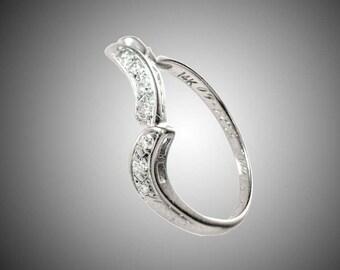 14k white gold & diamonds enhanser ring