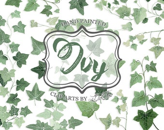 """Greenery Ivy Clipart Watercolor Clip Art Vines Leaf Woodland Leaves Foliage Handpainted Green Forest Wedding Invitation Illustration - """"Ivy"""""""