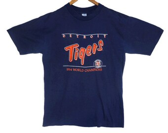 Vintage 1984 Detroit Tigers World Champions Tee - Medium Mens - 50 50 Tshirt - Vintage 80s Clothing - MLB - Original Logo - Tigers Baseball