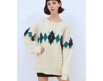 Vintage - 80's - MENS - Retro - Argyle- CABLE KNIT - Cream - Pure Wool - Jumper - Sweater - Pullover - M - Medium