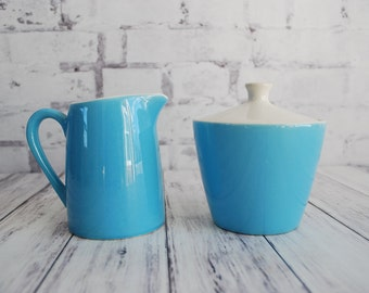 Blue Heaven Sugar and Creamer, Mid Century Teal Aqua Blue and White Sugar and Creamer Set, Great Gift For Tea Lovers or Coffee Lovers
