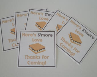 Set of 18 Self Adhesive Peel & Stick Labels In 2 Inch Size - Smore's! Thanks For Coming Stickers