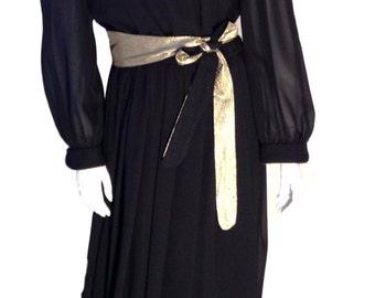 Gussied Up, Ltd. Gold Belted and Embellished Black Dress - Size Large