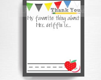 Teacher Appreciation End of the Year Teacher Gift from Class Fill in the Blank Thank You Card