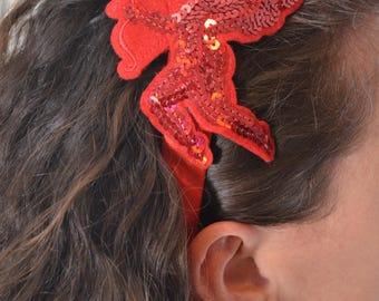 Red Sequin Valentines Cupid Headband