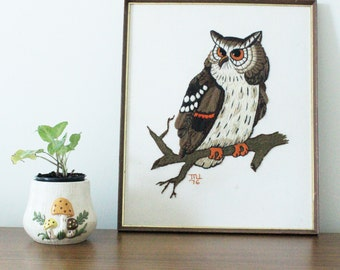 CLEARANCE // Vintage 1976 Owl Embroidery in Wooden Frame with Gold Trimming
