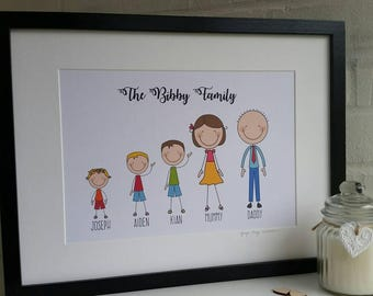 Personalised Family Illustration Framed Print
