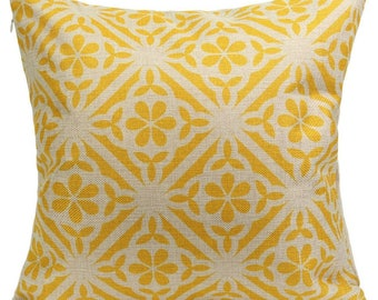 "Yellow Geometric 18"" x 18""cushion Cover"