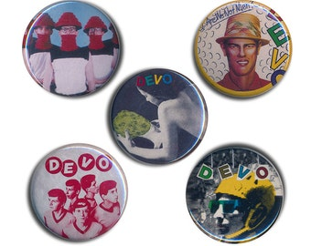 Devo Pin Badges  25mm 1inch Badge Buttons Button Are We Not Men We Are Devo