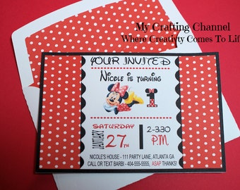 Red Minnie Mouse # 1 Birthday Invitations With Matching Envelopes--Invites-Invitations-Birthday-Birthday Invitations