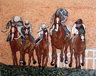 Horse Riding Mosaic Art