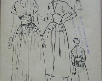 "Original Vintage Sewing Pattern, Butterick 4922. Dress pattern bust 34"", 1950s pattern"