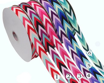 10 Yards Wave Printed Grosgrain Ribbon - 6 Colorful  Patterns - Wave Arrow Shapes  - 1 inch (25mm) width - Pattern Ribbons, r08