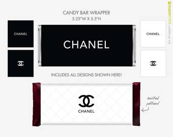 Coco Chanel CC Candy Bar Wrapper Labels / Instant Download Printable