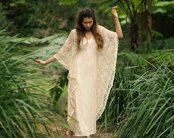 Angel Lace Bohemian Beaded Bridal Kaftan Dress, Gypsy Wedding Dress