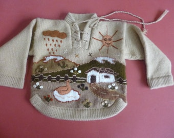 Size 1 Baby Alpaca sweater hand knit and embroidered in Peru